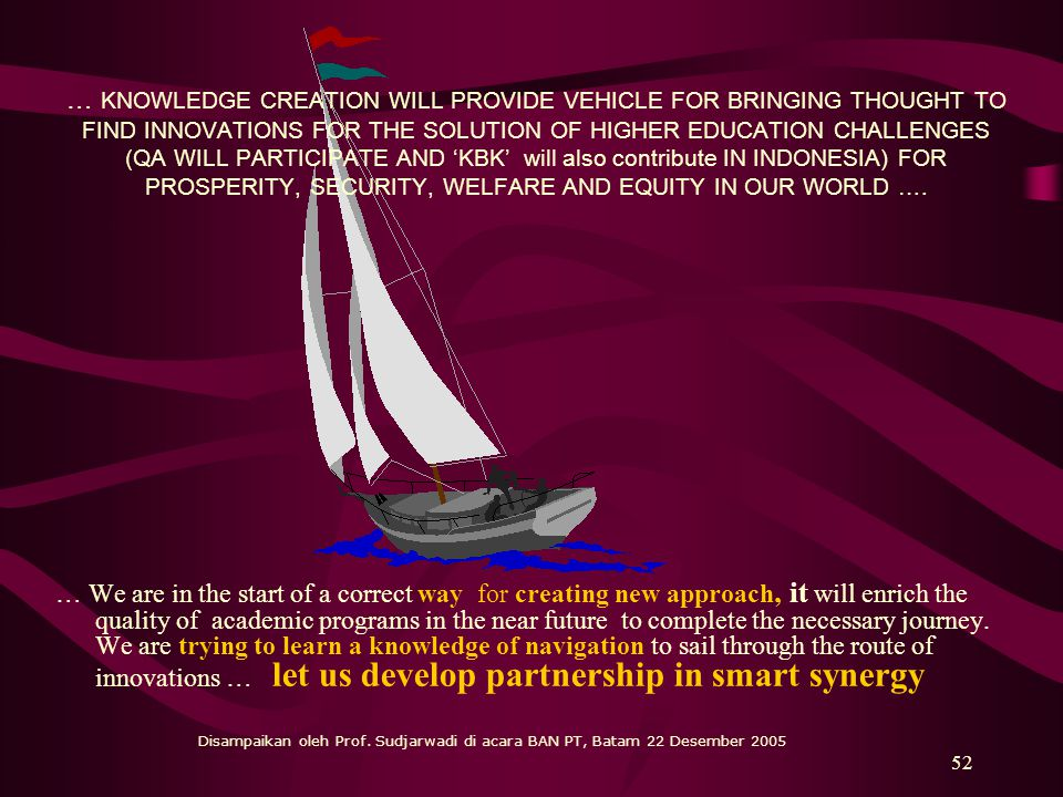 … KNOWLEDGE CREATION WILL PROVIDE VEHICLE FOR BRINGING THOUGHT TO FIND INNOVATIONS FOR THE SOLUTION OF HIGHER EDUCATION CHALLENGES (QA WILL PARTICIPATE AND 'KBK' will also contribute IN INDONESIA) FOR PROSPERITY, SECURITY, WELFARE AND EQUITY IN OUR WORLD ….