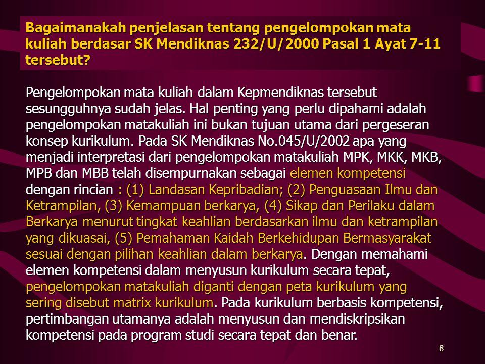 Bagaimanakah penjelasan tentang pengelompokan mata kuliah berdasar SK Mendiknas 232/U/2000 Pasal 1 Ayat 7-11 tersebut