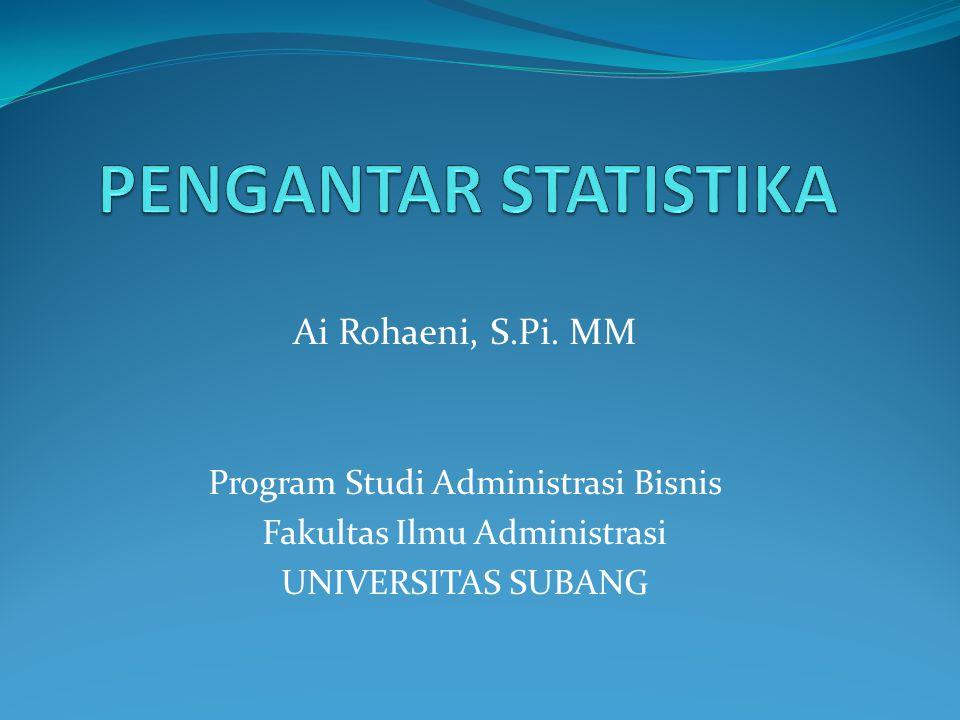 PENGANTAR STATISTIKA Ai Rohaeni, S.Pi. MM
