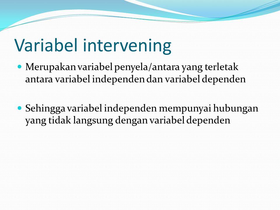 Variabel intervening Merupakan variabel penyela/antara yang terletak antara variabel independen dan variabel dependen.