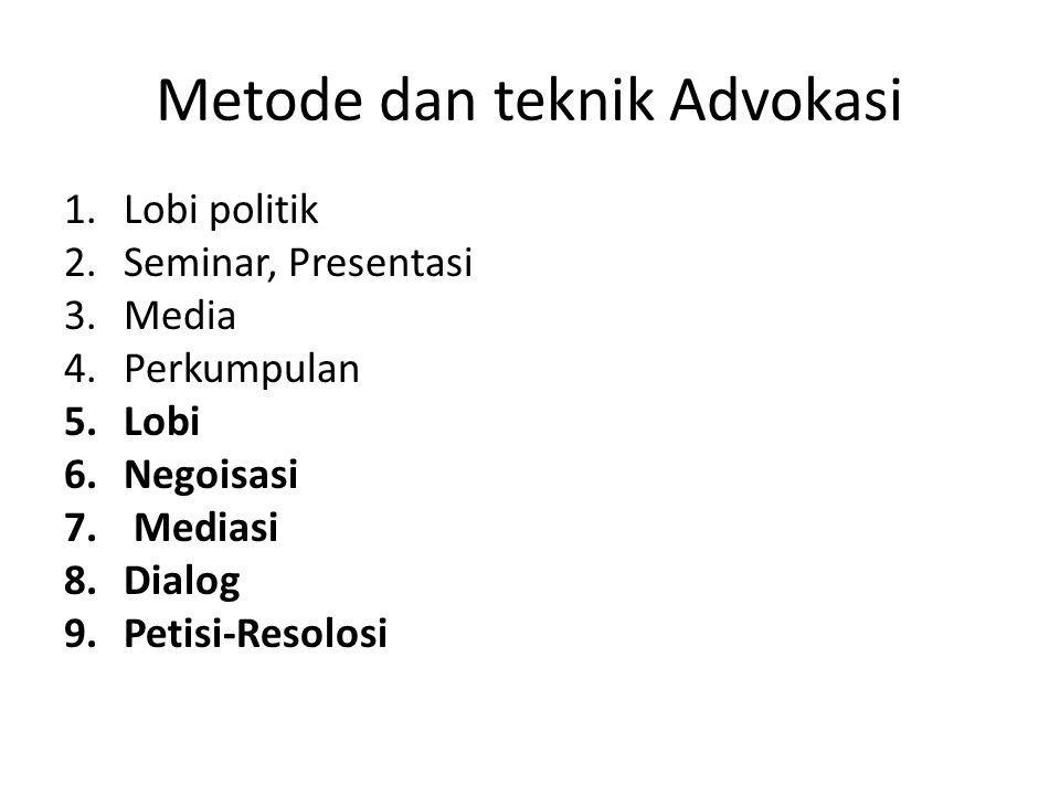 Metode dan teknik Advokasi