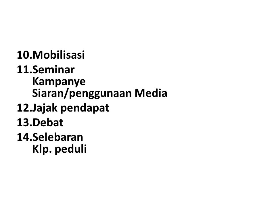 Mobilisasi Seminar Kampanye Siaran/penggunaan Media Jajak pendapat Debat Selebaran Klp. peduli