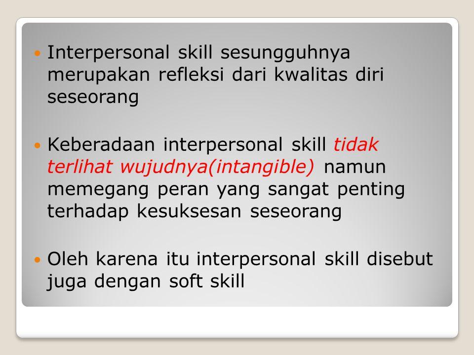Interpersonal skill sesungguhnya merupakan refleksi dari kwalitas diri seseorang