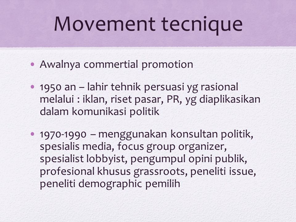 Movement tecnique Awalnya commertial promotion