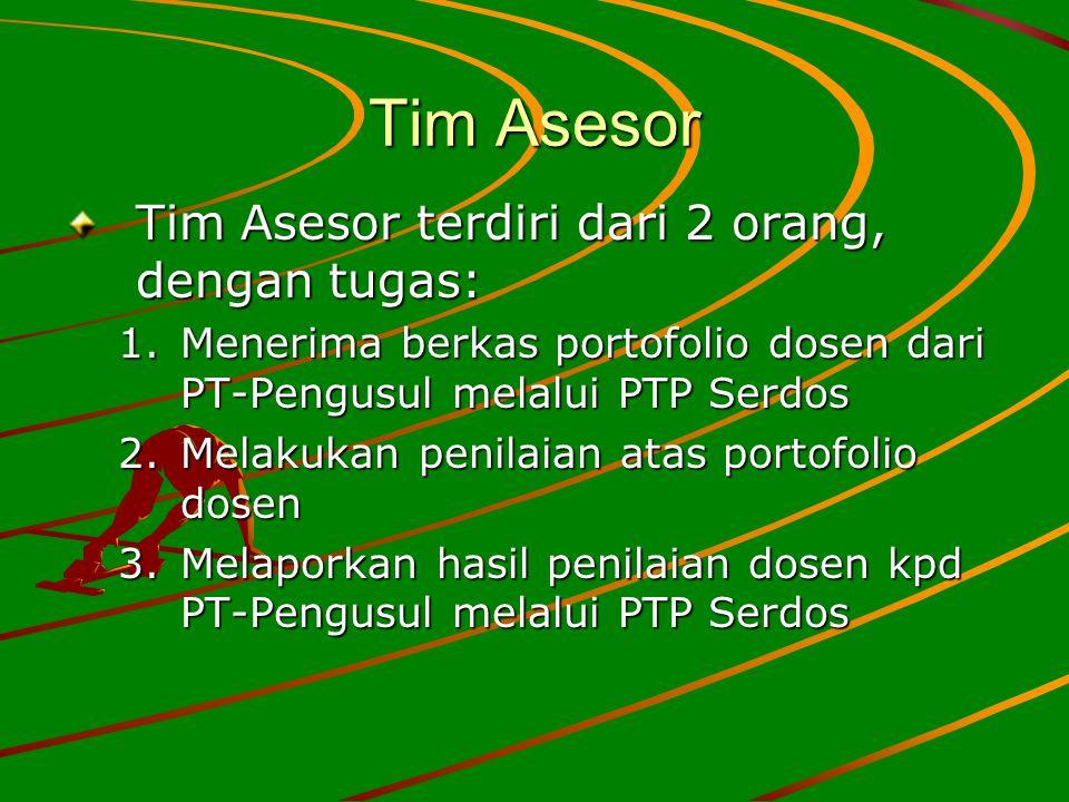 Tim Asesor Tim Asesor terdiri dari 2 orang, dengan tugas: