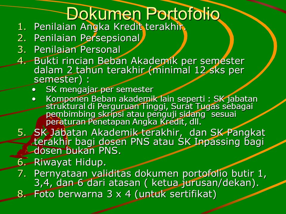 Dokumen Portofolio Penilaian Angka Kredit terakhir.