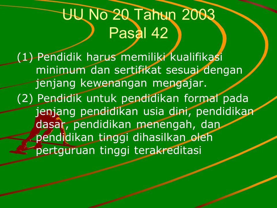 UU No 20 Tahun 2003 Pasal 42 (1) Pendidik harus memiliki kualifikasi minimum dan sertifikat sesuai dengan jenjang kewenangan mengajar.
