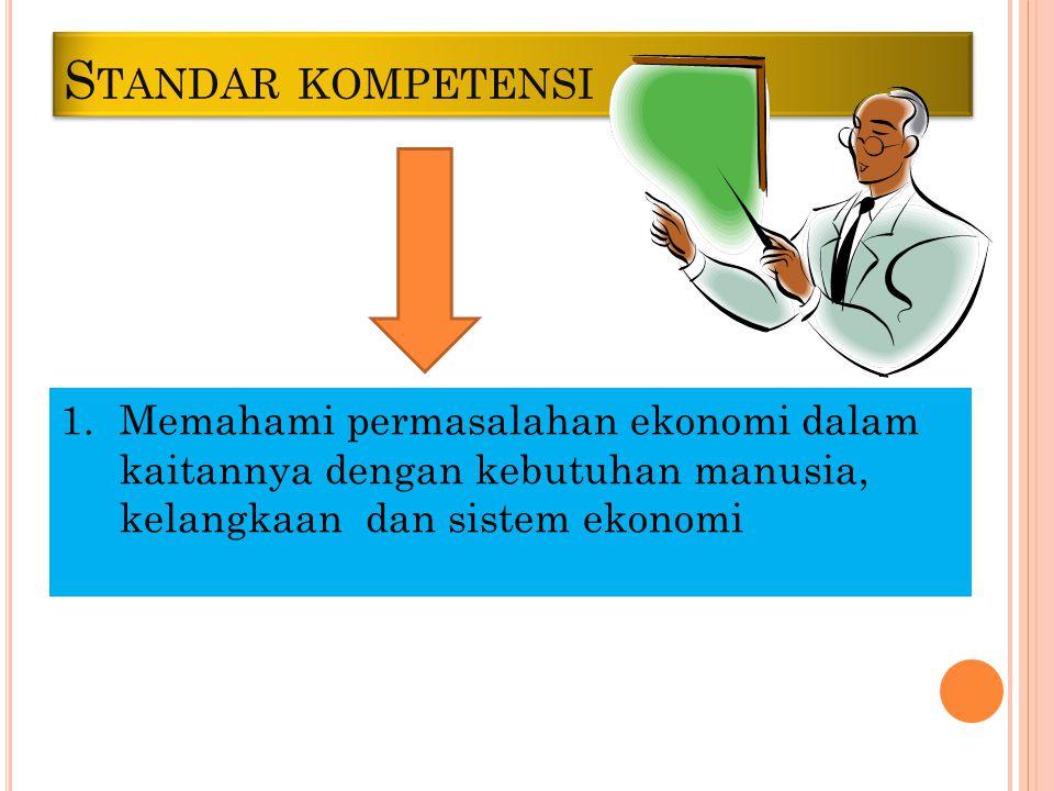 Standar kompetensi Memahami permasalahan ekonomi dalam kaitannya dengan kebutuhan manusia, kelangkaan dan sistem ekonomi.