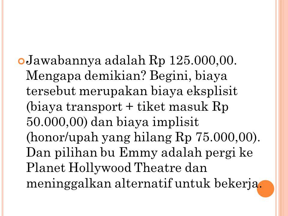 Jawabannya adalah Rp 125. 000,00. Mengapa demikian
