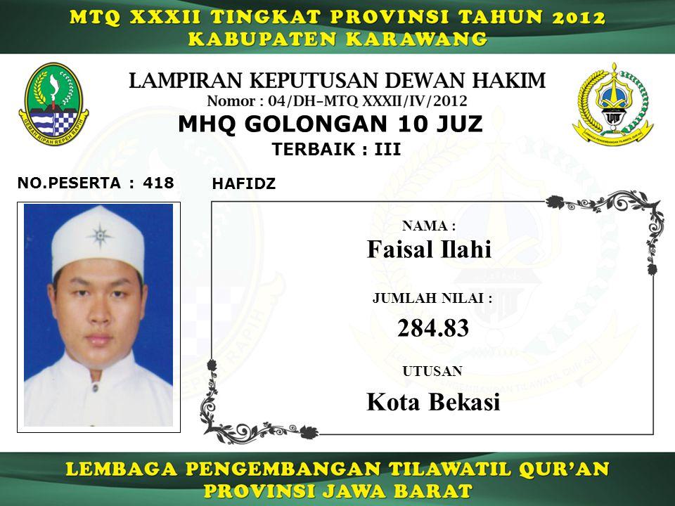 Faisal Ilahi 284.83 Kota Bekasi MHQ GOLONGAN 10 JUZ TERBAIK : III
