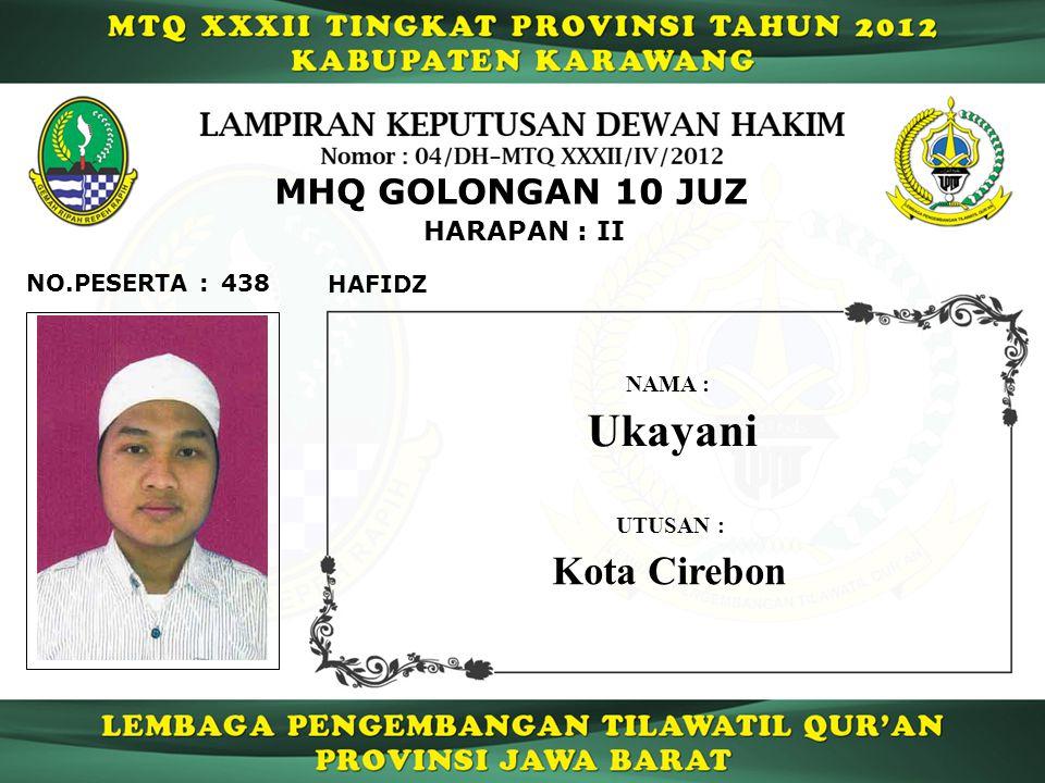 Ukayani Kota Cirebon MHQ GOLONGAN 10 JUZ HARAPAN : II NO.PESERTA : 438