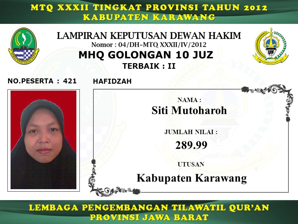 Siti Mutoharoh 289.99 Kabupaten Karawang MHQ GOLONGAN 10 JUZ