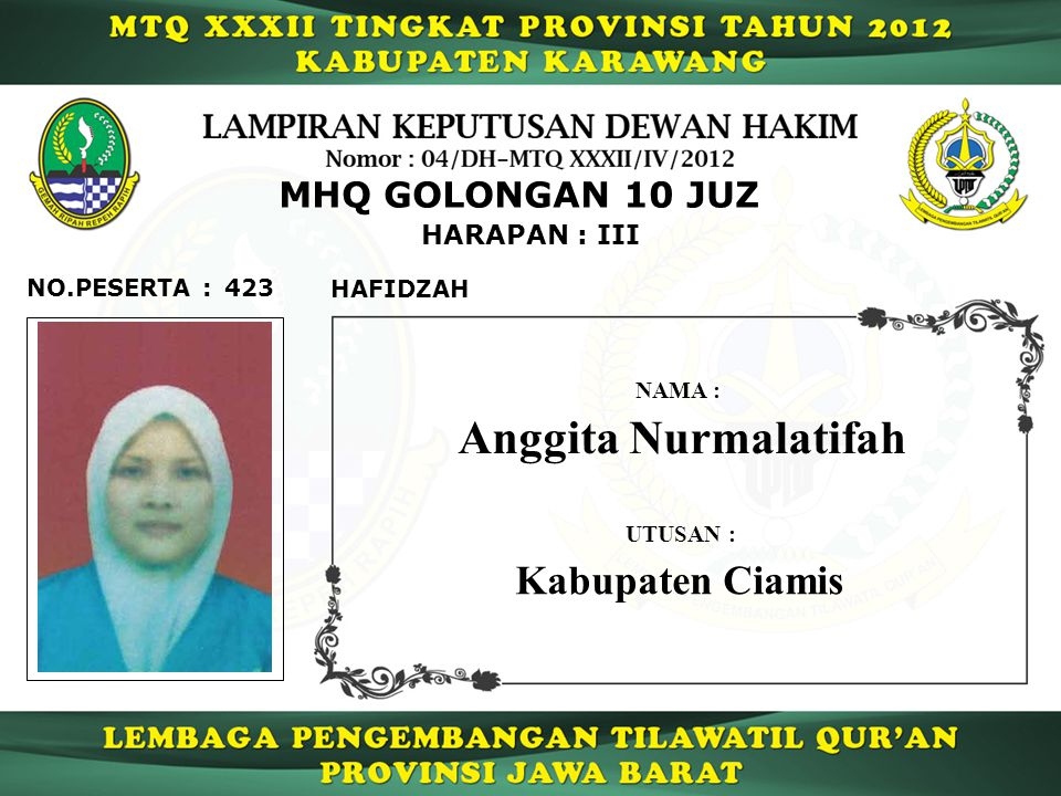 Anggita Nurmalatifah Kabupaten Ciamis MHQ GOLONGAN 10 JUZ