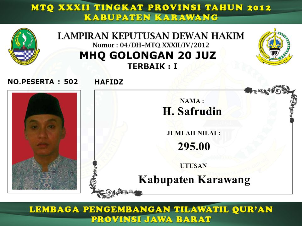 H. Safrudin 295.00 Kabupaten Karawang MHQ GOLONGAN 20 JUZ TERBAIK : I