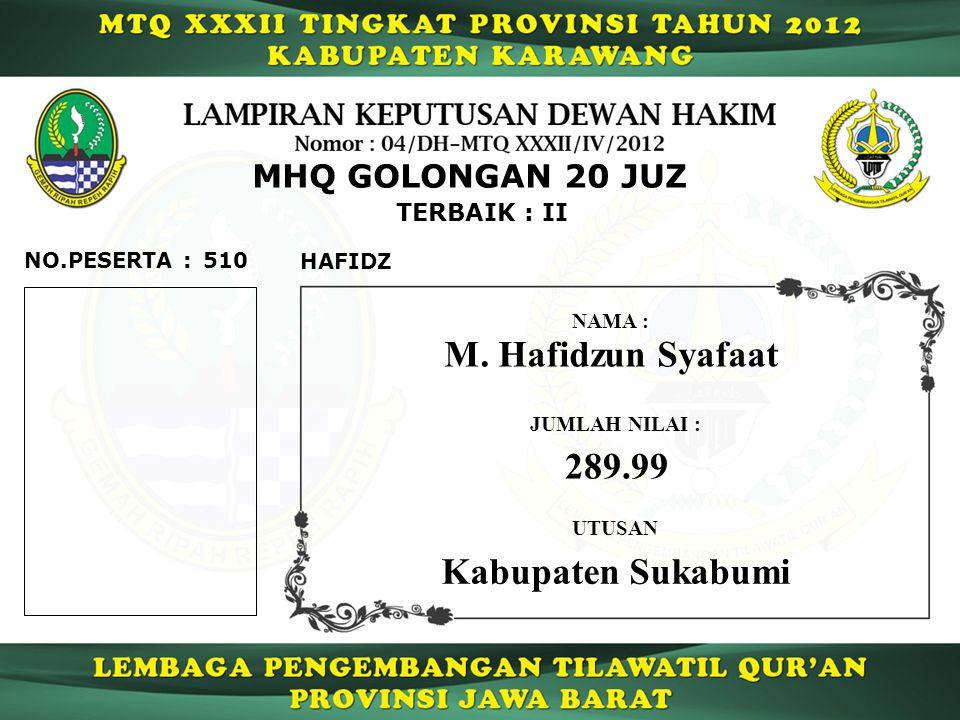 M. Hafidzun Syafaat 289.99 Kabupaten Sukabumi MHQ GOLONGAN 20 JUZ