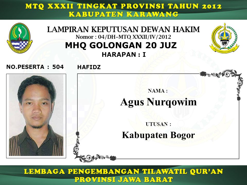 Agus Nurqowim Kabupaten Bogor MHQ GOLONGAN 20 JUZ HARAPAN : I