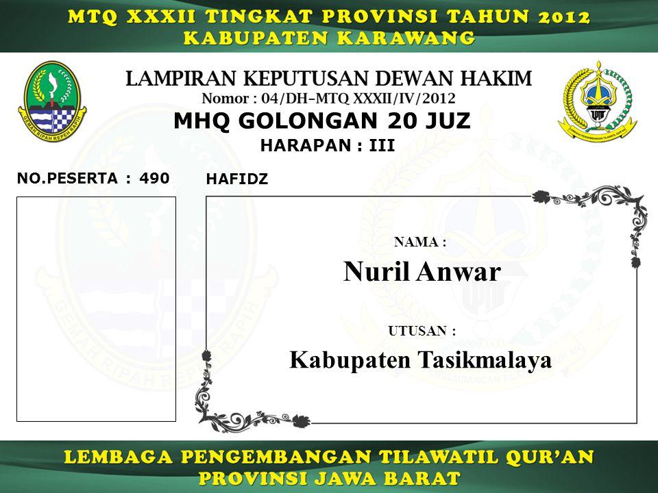 Nuril Anwar Kabupaten Tasikmalaya MHQ GOLONGAN 20 JUZ HARAPAN : III