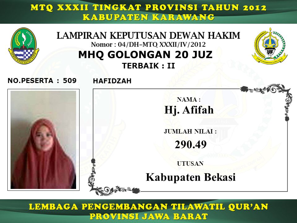 Hj. Afifah 290.49 Kabupaten Bekasi MHQ GOLONGAN 20 JUZ TERBAIK : II