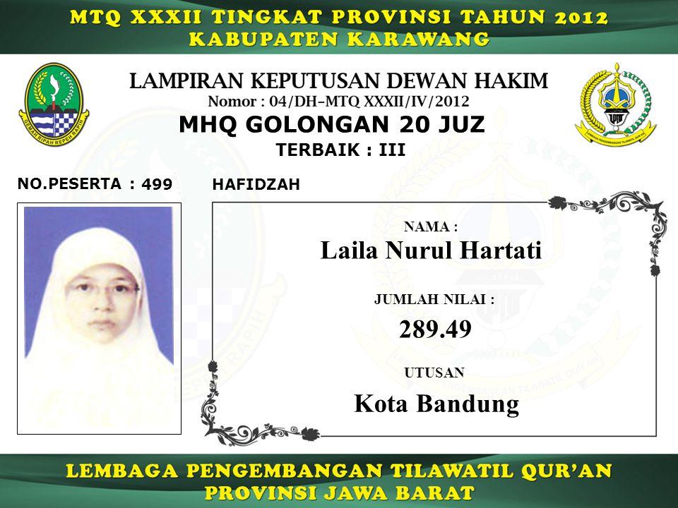 Laila Nurul Hartati 289.49 Kota Bandung MHQ GOLONGAN 20 JUZ