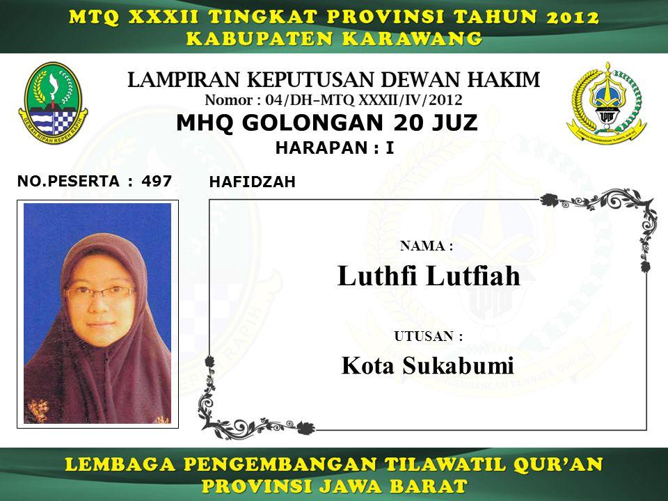Luthfi Lutfiah Kota Sukabumi MHQ GOLONGAN 20 JUZ HARAPAN : I
