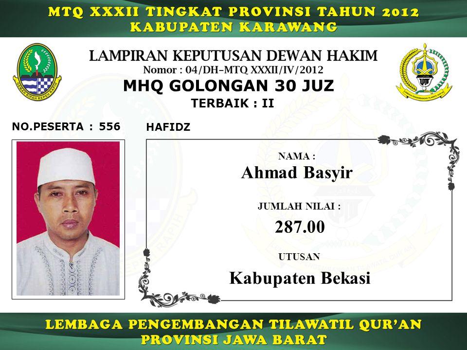Ahmad Basyir 287.00 Kabupaten Bekasi MHQ GOLONGAN 30 JUZ TERBAIK : II