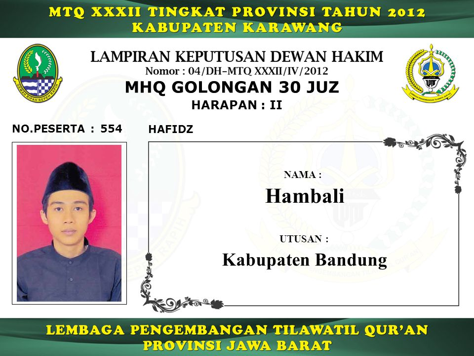 Hambali Kabupaten Bandung MHQ GOLONGAN 30 JUZ HARAPAN : II