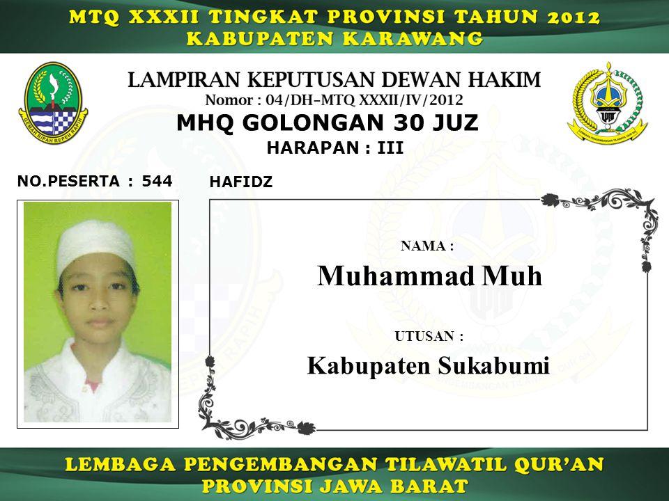 Muhammad Muh Kabupaten Sukabumi MHQ GOLONGAN 30 JUZ HARAPAN : III