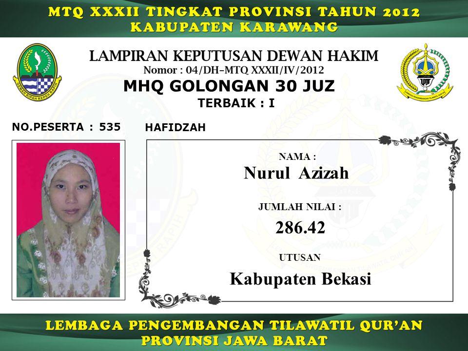 Nurul Azizah 286.42 Kabupaten Bekasi MHQ GOLONGAN 30 JUZ TERBAIK : I