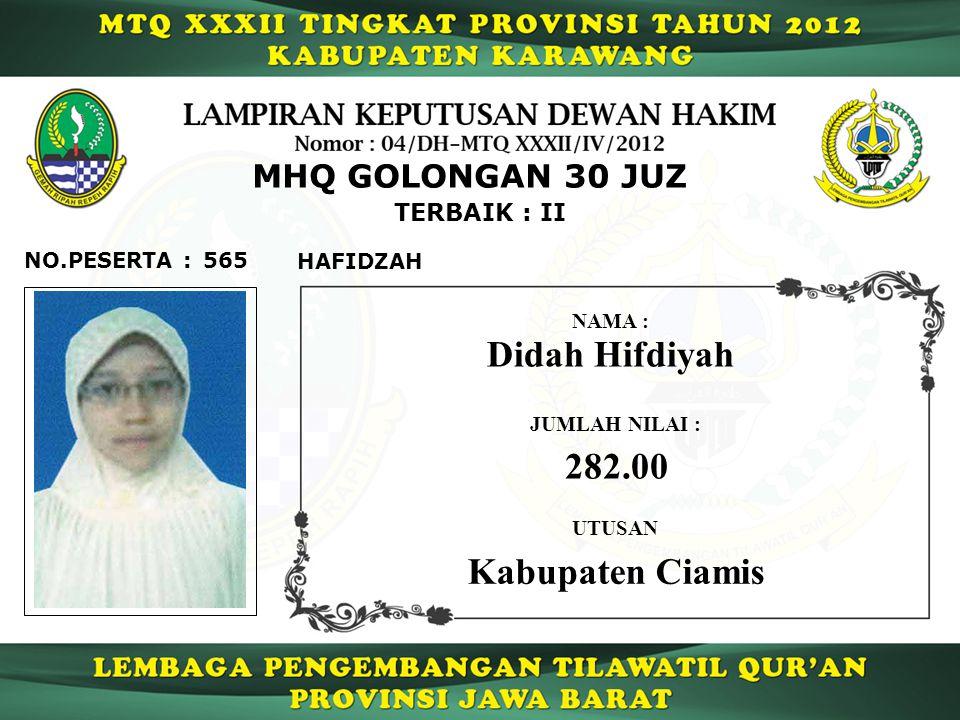 Didah Hifdiyah 282.00 Kabupaten Ciamis MHQ GOLONGAN 30 JUZ