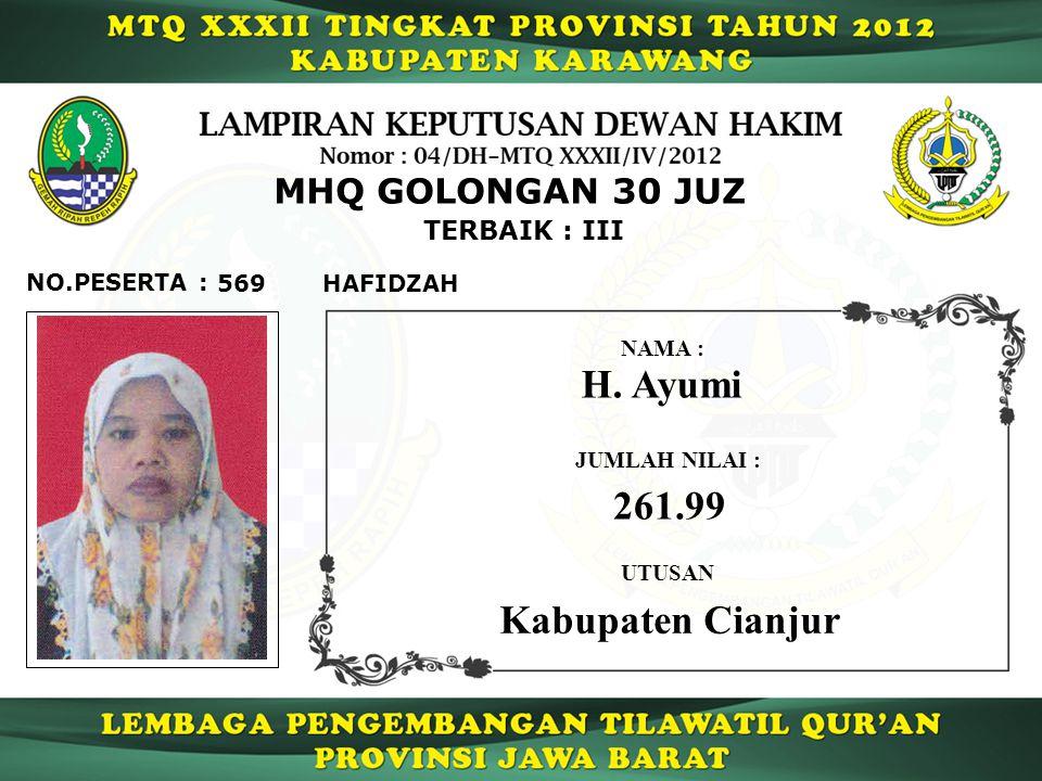 H. Ayumi 261.99 Kabupaten Cianjur MHQ GOLONGAN 30 JUZ TERBAIK : III