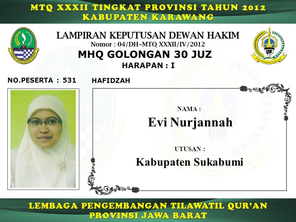Evi Nurjannah Kabupaten Sukabumi MHQ GOLONGAN 30 JUZ HARAPAN : I