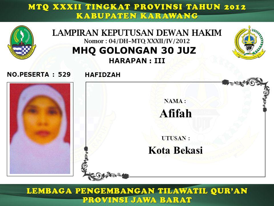 Afifah Kota Bekasi MHQ GOLONGAN 30 JUZ HARAPAN : III NO.PESERTA : 529