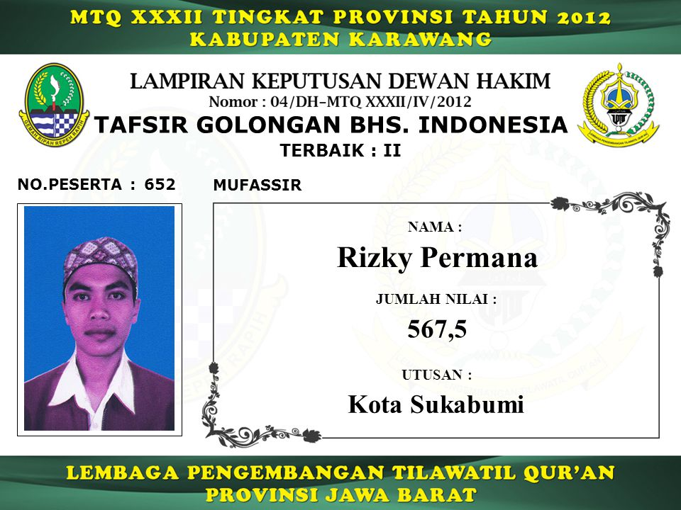 Rizky Permana 567,5 Kota Sukabumi TAFSIR GOLONGAN BHS. INDONESIA
