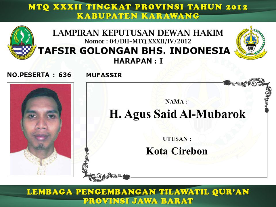 H. Agus Said Al-Mubarok Kota Cirebon TAFSIR GOLONGAN BHS. INDONESIA