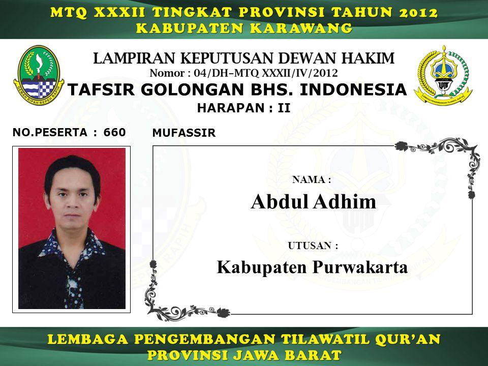 Abdul Adhim Kabupaten Purwakarta TAFSIR GOLONGAN BHS. INDONESIA