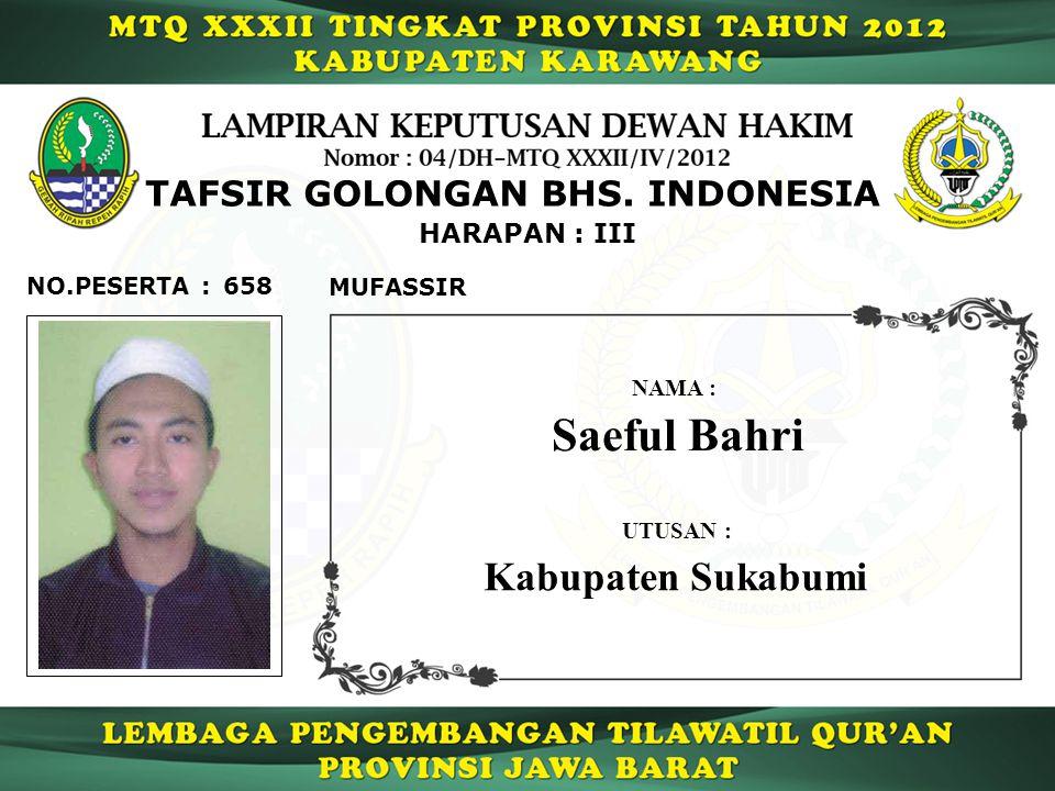 Saeful Bahri Kabupaten Sukabumi TAFSIR GOLONGAN BHS. INDONESIA