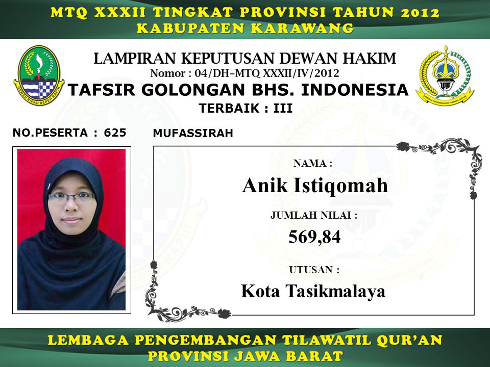 Anik Istiqomah 569,84 Kota Tasikmalaya TAFSIR GOLONGAN BHS. INDONESIA