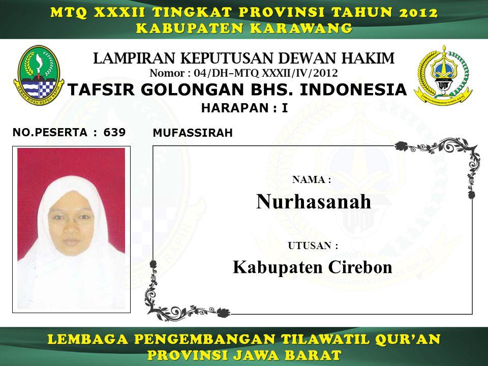 Nurhasanah Kabupaten Cirebon TAFSIR GOLONGAN BHS. INDONESIA