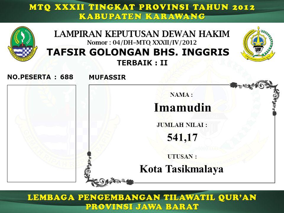 Imamudin 541,17 Kota Tasikmalaya TAFSIR GOLONGAN BHS. INGGRIS