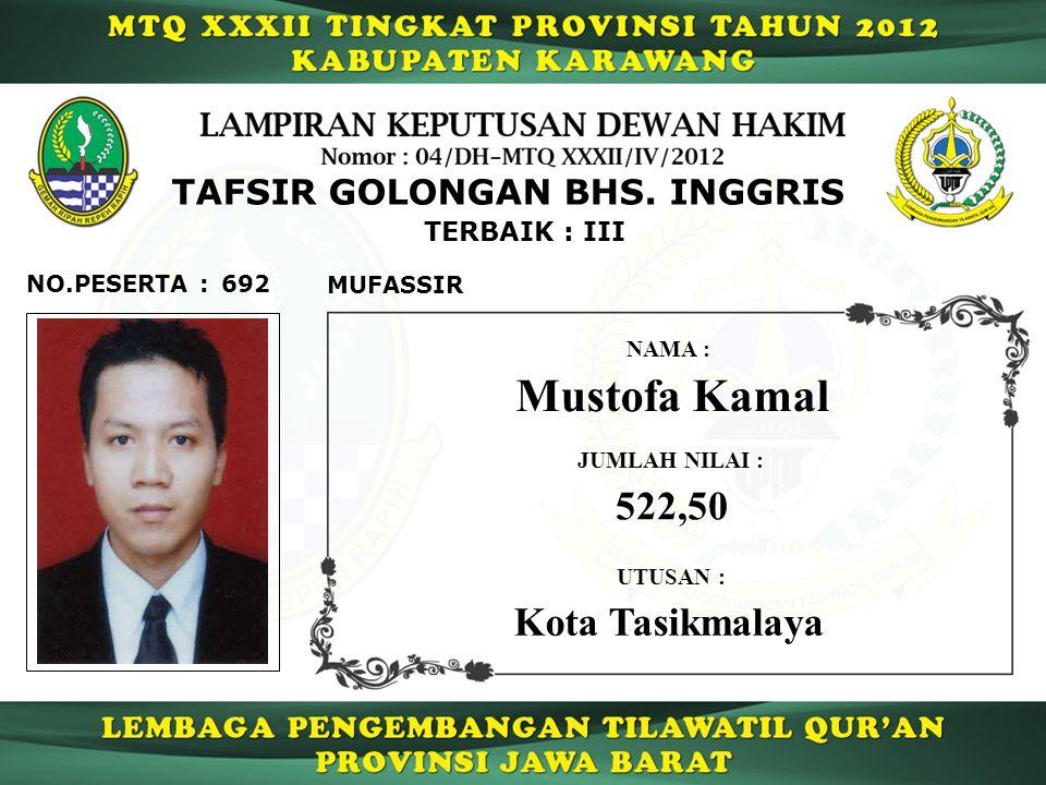 Mustofa Kamal 522,50 Kota Tasikmalaya TAFSIR GOLONGAN BHS. INGGRIS