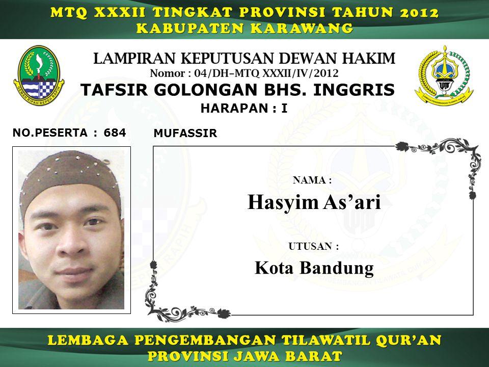 Hasyim As'ari Kota Bandung TAFSIR GOLONGAN BHS. INGGRIS HARAPAN : I