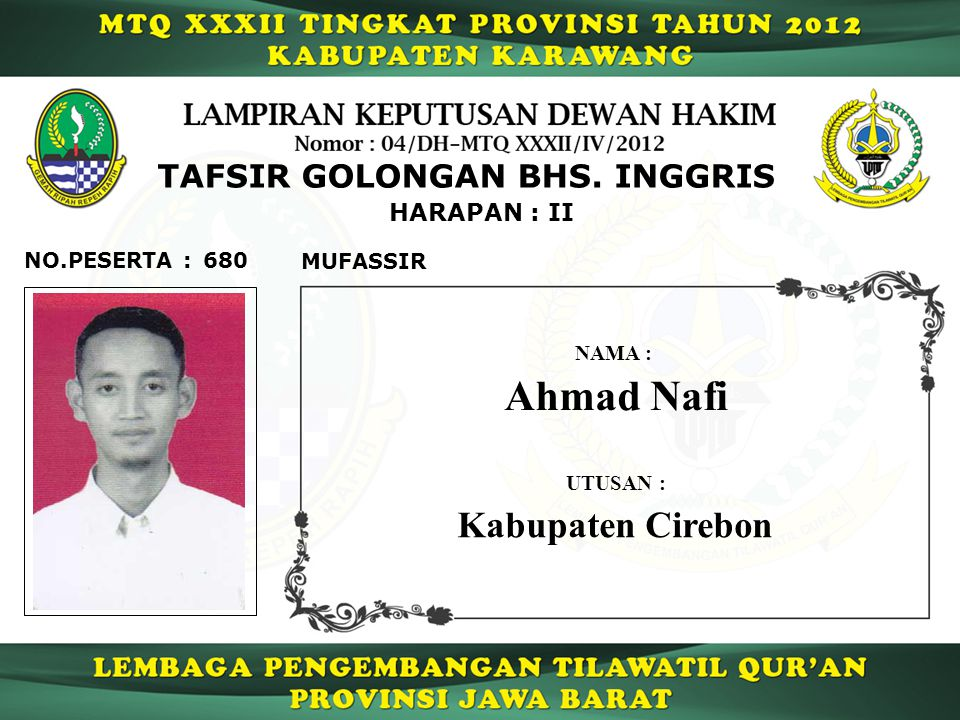 Ahmad Nafi Kabupaten Cirebon TAFSIR GOLONGAN BHS. INGGRIS HARAPAN : II