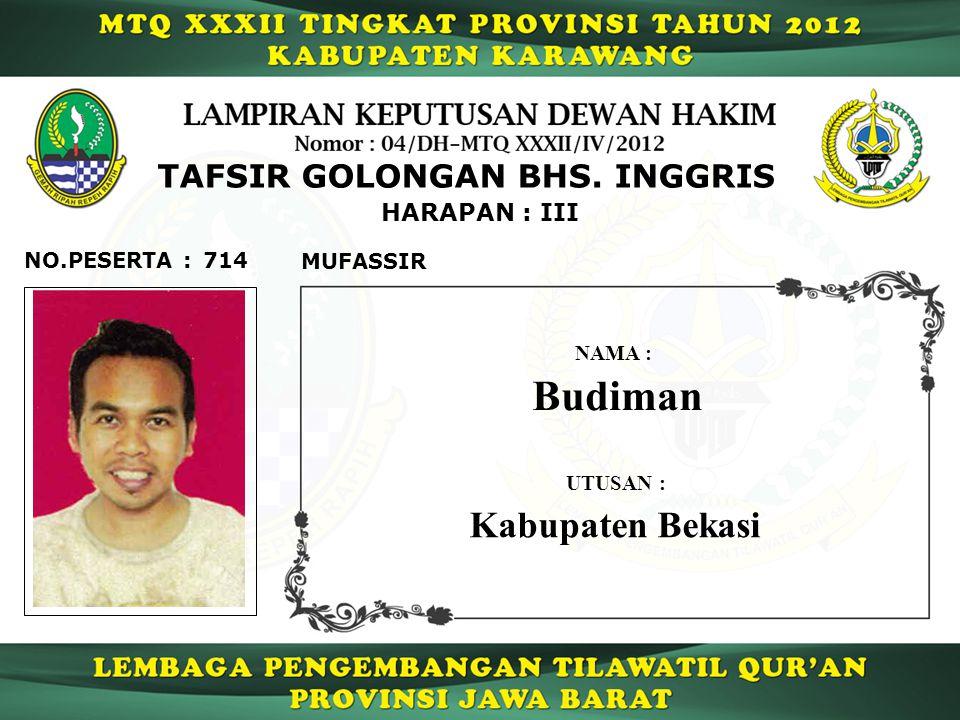 Budiman Kabupaten Bekasi TAFSIR GOLONGAN BHS. INGGRIS HARAPAN : III