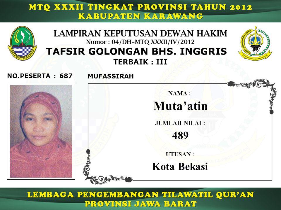 Muta'atin 489 Kota Bekasi TAFSIR GOLONGAN BHS. INGGRIS TERBAIK : III