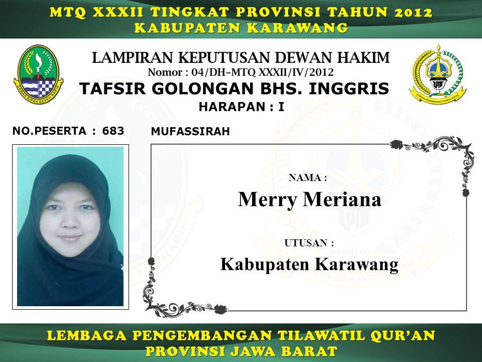 Merry Meriana Kabupaten Karawang TAFSIR GOLONGAN BHS. INGGRIS