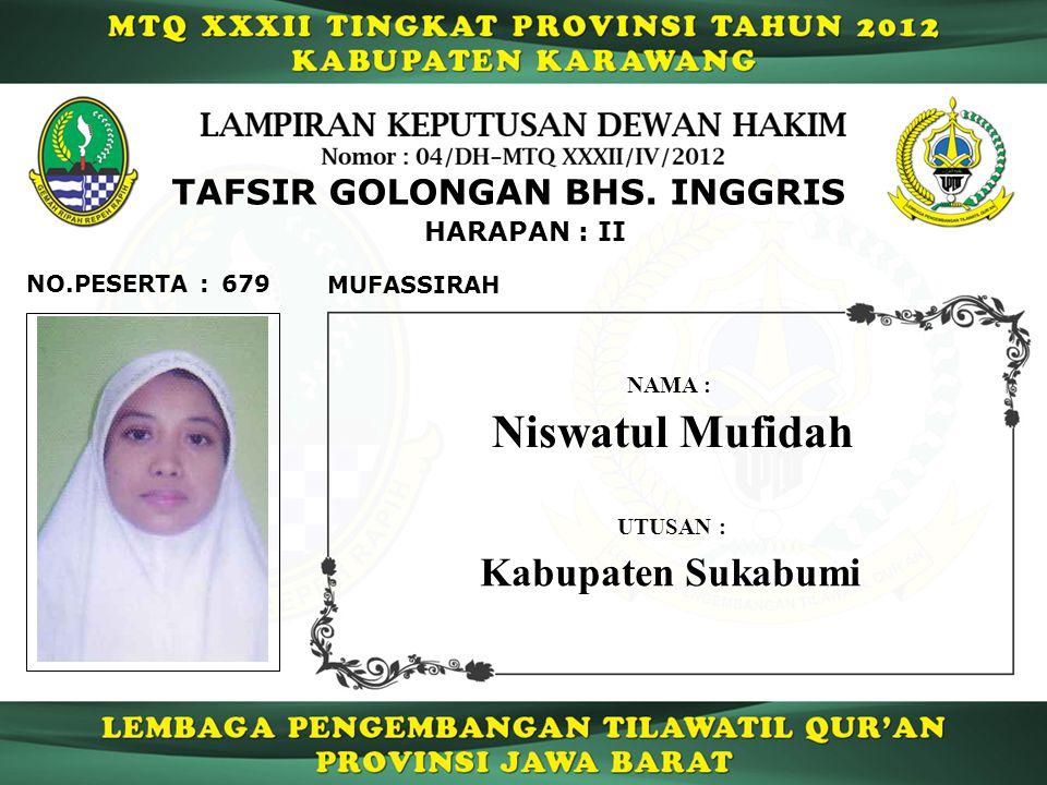 Niswatul Mufidah Kabupaten Sukabumi TAFSIR GOLONGAN BHS. INGGRIS