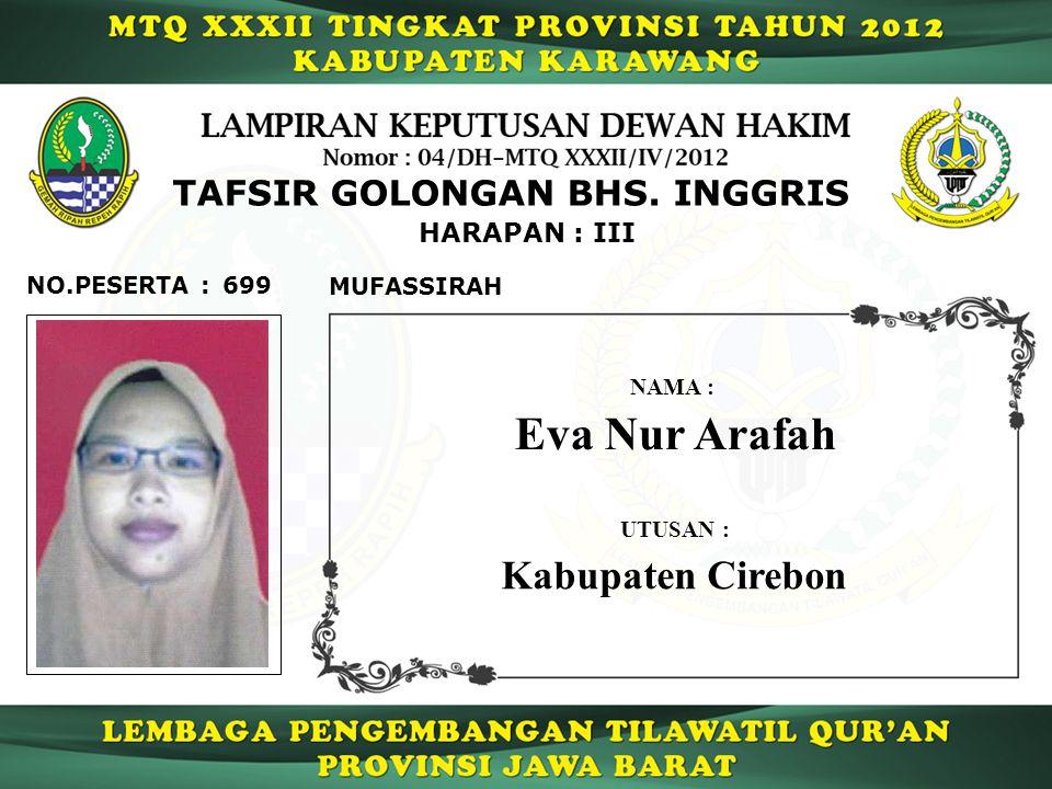 Eva Nur Arafah Kabupaten Cirebon TAFSIR GOLONGAN BHS. INGGRIS
