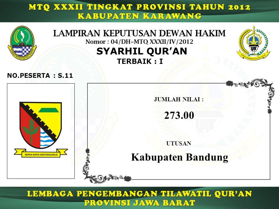 273.00 Kabupaten Bandung SYARHIL QUR'AN TERBAIK : I NO.PESERTA : S.11