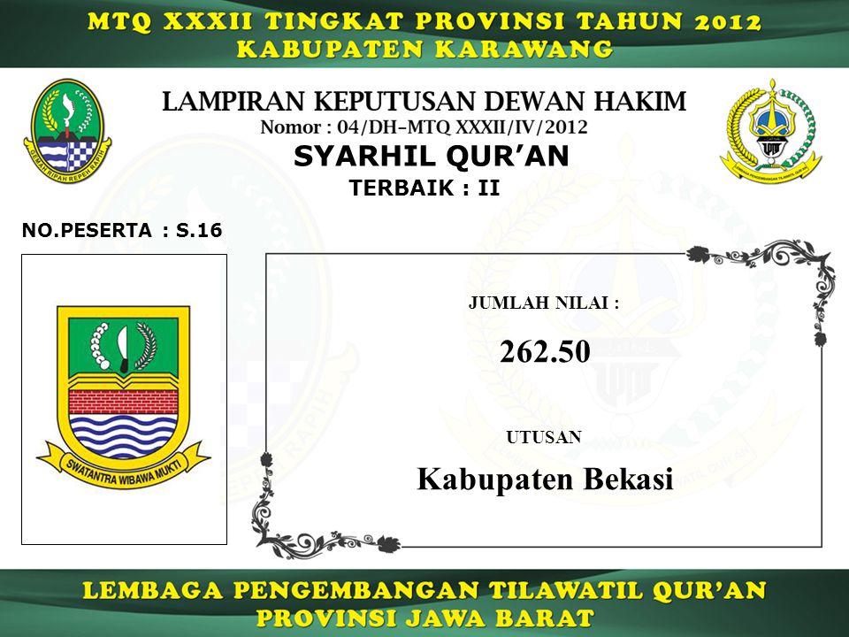 262.50 Kabupaten Bekasi SYARHIL QUR'AN TERBAIK : II NO.PESERTA : S.16
