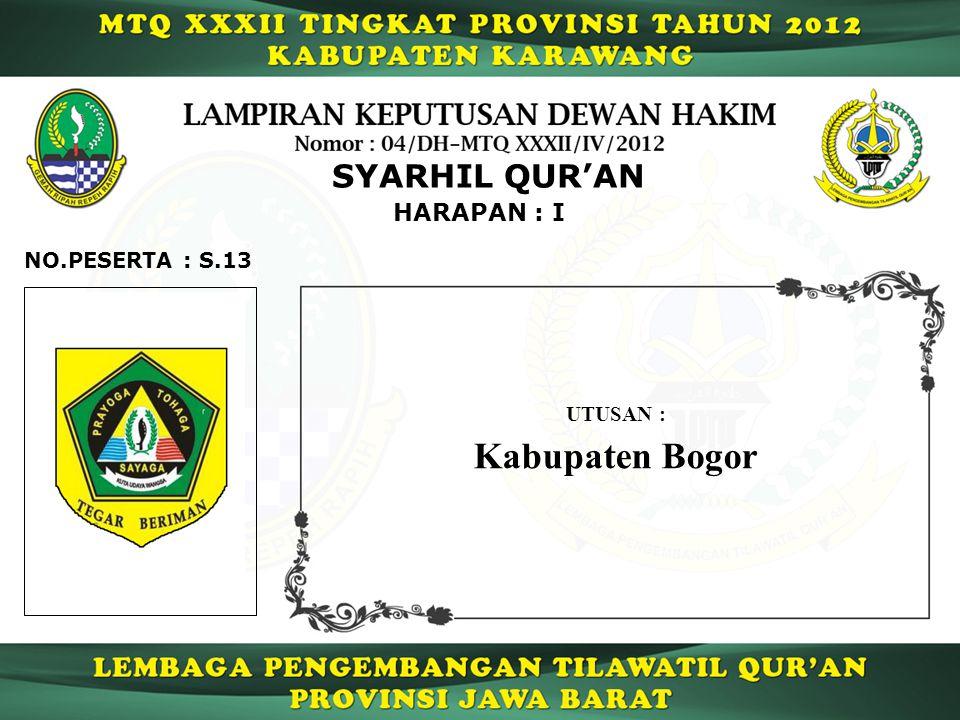 SYARHIL QUR'AN HARAPAN : I NO.PESERTA : S.13 UTUSAN : Kabupaten Bogor
